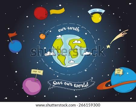 The earth among planets - stock vector