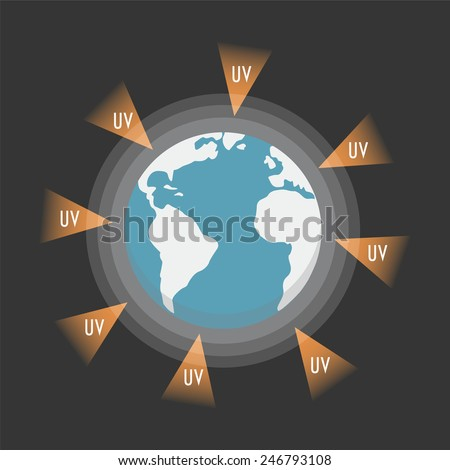 the earth attacked from UV-Ray, flat style - stock vector