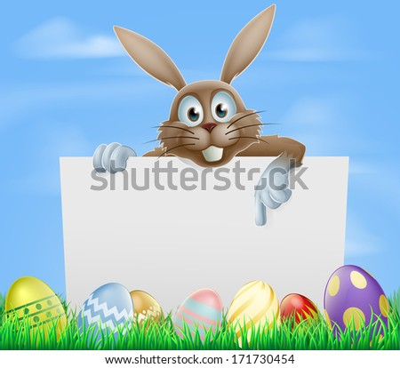 The Easter bunny and chocolate painted eggs sign