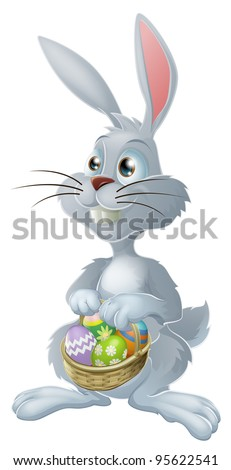The Easter bunny with a basket full of painted Easter eggs - stock vector