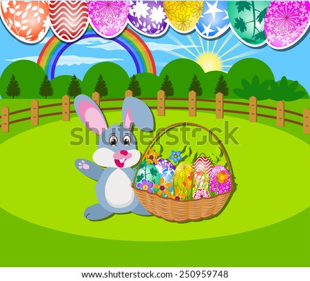 The Easter with eggs, rabbit  and basket - stock vector