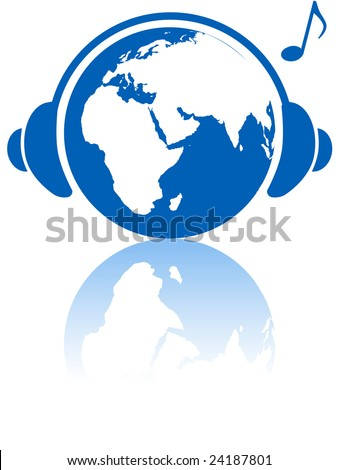 The Eastern hemisphere wears headphones to hear Earth music world with musical note and reflection. - stock vector