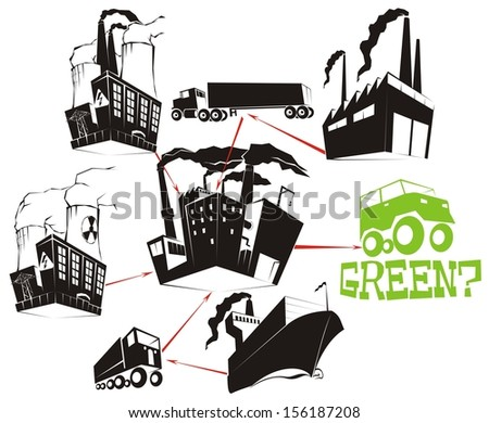 The Eco Equation 1 - a question raised about how green the manufacturing process of environmental-friendly products actually is (transport- & business-related vector cartoon illustration - stock vector