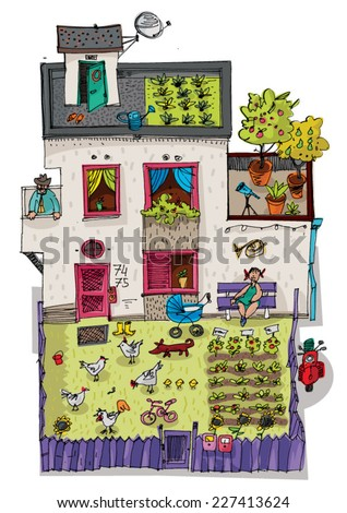 the eco house with garden on the top - cartoon - stock vector