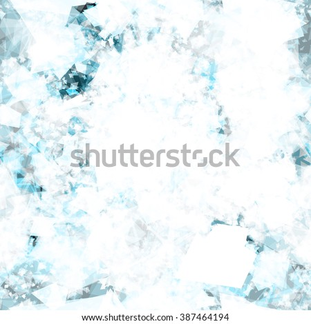 The effect of snow. Vector seamless pattern of triangles. Stains in the form of  foam. Abstract. Blue and white spots with watercolor effect - stock vector