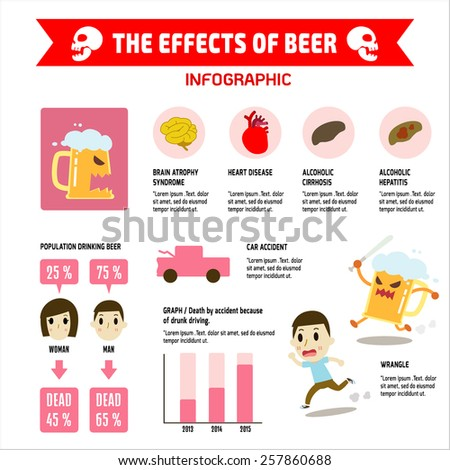 THE EFFECTS OF beer on health  infographic. vector, cartoon, - stock vector