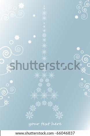 the eiffel tower, christmas background for text with snowflakes and floral ornament - stock vector