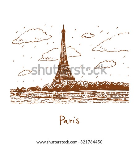The Eiffel tower from the river Seine in Paris, France. Travel Paris icon. Vector hand drawn sketch. - stock vector