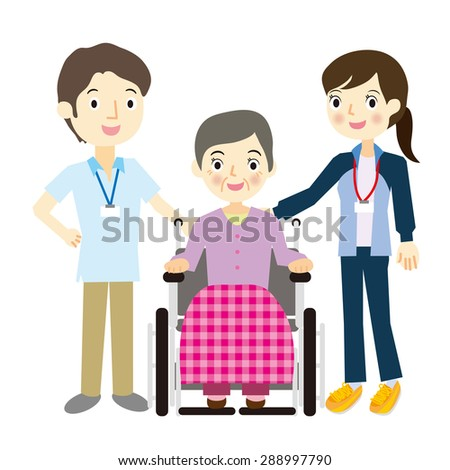 The elderly and rehabilitation staff - stock vector