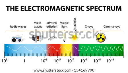 The electromagnetic spectrum vector diagram. different types of electromagnetic radiation by their wavelengths.  In order of increasing frequency and decreasing wavelength - stock vector