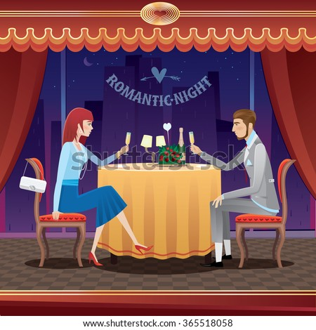 The elegant couple sitting at restaurant in the evening and drinking champagne - anniversary concept. Vector illustration - stock vector