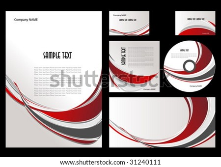 The elements of corporate branding style - stock vector