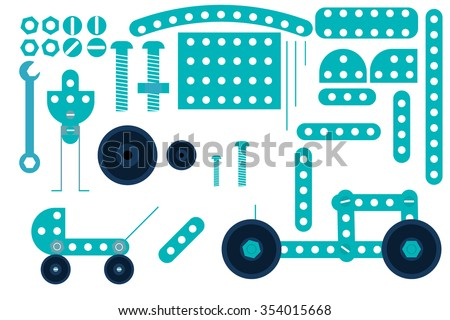 the elements of the construction. rods, bolts, nuts, bolts, wheels. parts of the robot. - stock vector