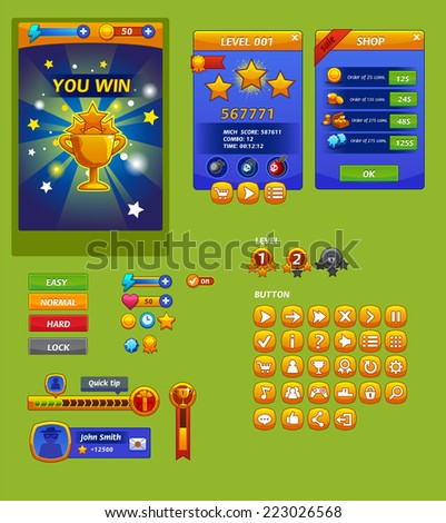 The elements of the game interface (resource bar and resource icons for games) - stock vector
