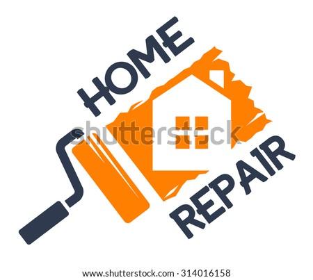 The emblem of home repair. - stock vector