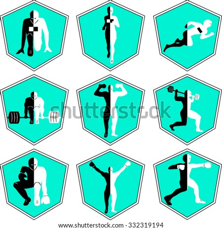 The emblem with the athlete, a sport logo, the runner on start, the person runs, sports training, track and field athletics, weightlifting, a bar raising, exercise with dumbbells, heavy weight, - stock vector