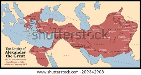 The Empire of Alexander the Great an his conquest course from Greece to India to Babylon in 334-323 B.C. with towns, provinces and year dates. Isolated vector illustration o black background. - stock vector