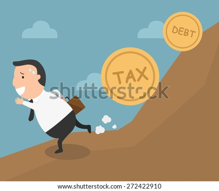 The employee tries to run away from tax and debt - stock vector