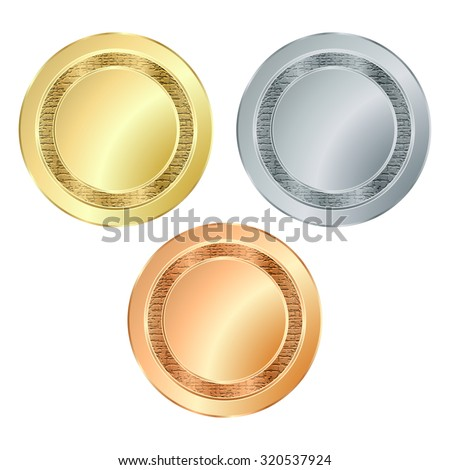 The empty vector stamp with the texture of gold silver bronze, which can be used as icons, buttons, coins, medals