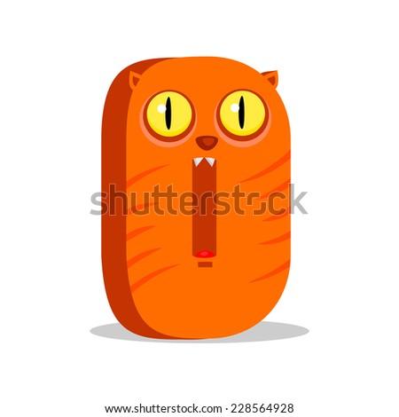 The English alphabet. Cat. Digit 0. Vector illustration. - stock vector