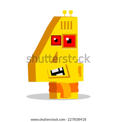 The English alphabet. Figure 4, fourth.robot vector illustration. - stock vector