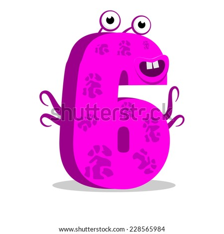 The English alphabet. Figure 6, the sixth. Octopus vector illustration. - stock vector
