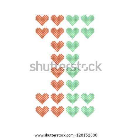 The English alphabet in many heart patterns, Letter I, One of the 26 English letters. - stock vector