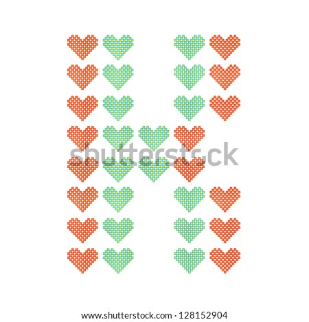 The English alphabet in many heart patterns, Letter K, One of the 26 English letters. - stock vector