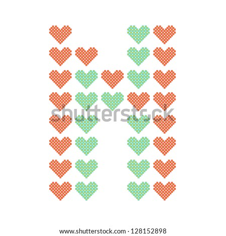 The English alphabet in many heart patterns, Letter N, One of the 26 English letters. - stock vector
