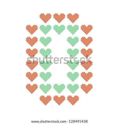 The English alphabet in many heart patterns, Letter O, One of the 26 English letters. - stock vector