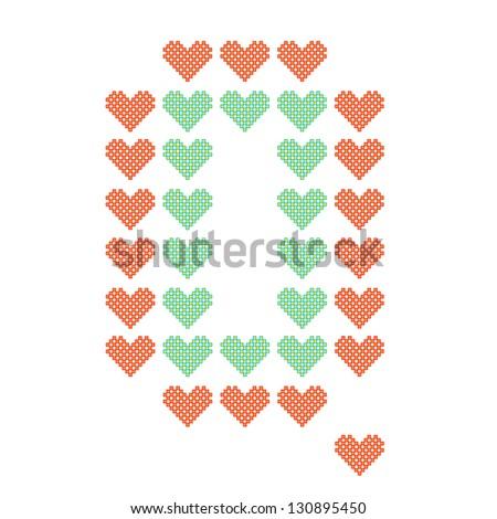 The English alphabet in many heart patterns, Letter Q, One of the 26 English letters. - stock vector