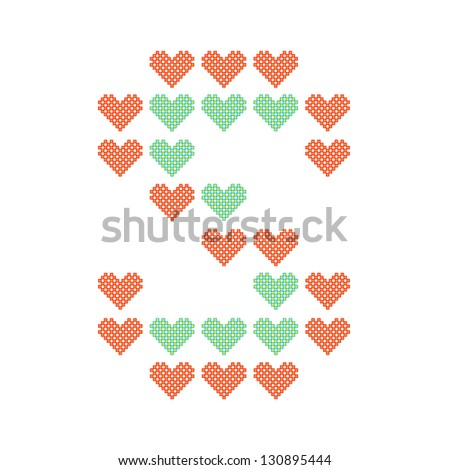 The English alphabet in many heart patterns, Letter S, One of the 26 English letters. - stock vector
