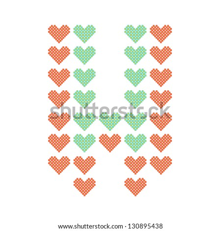 The English alphabet in many heart patterns, Letter W, One of the 26 English letters. - stock vector