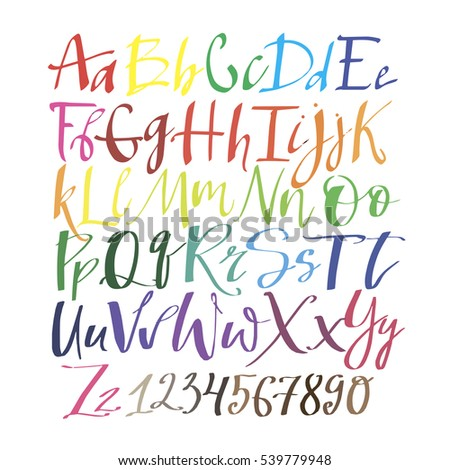 The English alphabet multi colors. Hand drawing font. Hand drawn abc vector set. Calligraphic script