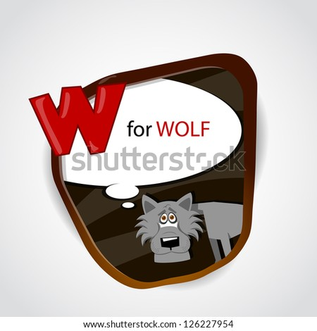 The English alphabet of animal theme. W for Wolf. Vector illustration