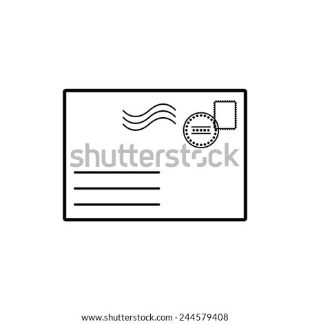 The envelope icon. Mail symbol. Flat Vector illustration - stock vector