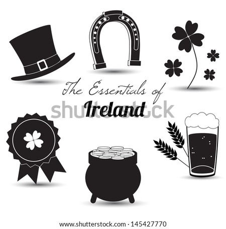 The Essentials od Ireland icons isolated on white background. Vector illustration. - stock vector