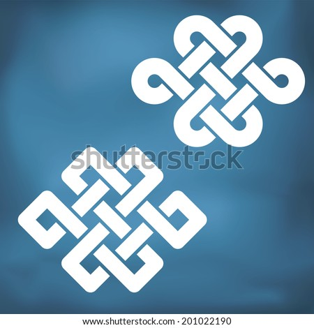 The eternal knot also known as The endless knot, two versions - stock ...