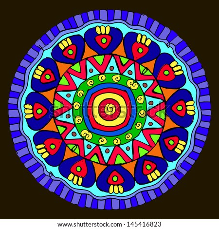 The ethnic ornament,kaleidoscopic pattern.Ornament in the circle
