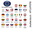 The European Union countries flags - stock vector