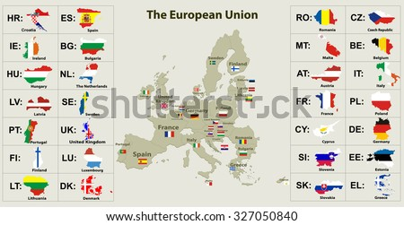 The European Union map and all the countries flags of the member countries of the European Union - stock vector