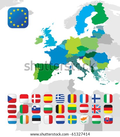 The European Union map and all the EU countries flags - stock vector