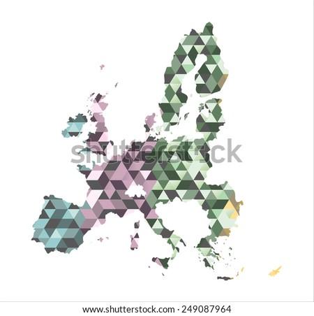 The European Union map  in polygonal style. Vector - stock vector