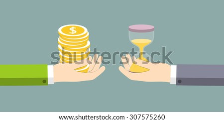 The exchange of time on the money. Vector illustration. - stock vector