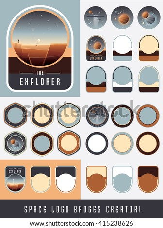 The explorer space logo badges creator create your own universe theme emblems stickers