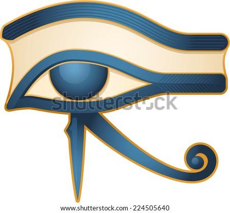 The Eye of Horus Egypt Deity, with Egyptian religious myth figure deity. Vector illustration cartoon. - stock vector