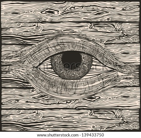 The eye of the woods. - stock vector