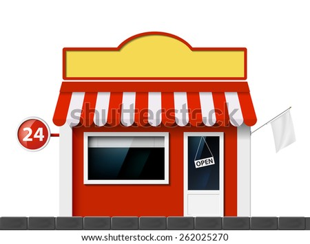 The facade of the building of the store. Vector image. - stock vector