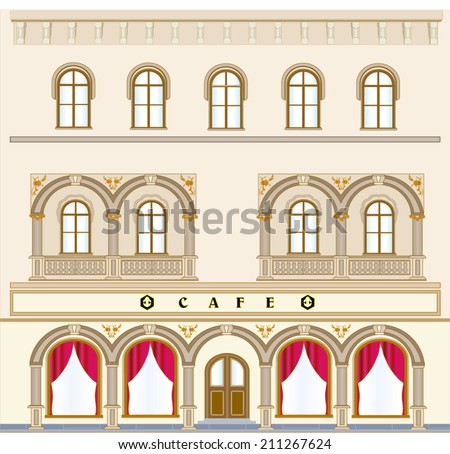 The facade of the historic building on the square with an old cafe. The facade is decorated with a relief with columns, arches, balustrades, decorated ground floor is set back from the sidewalk - stock vector
