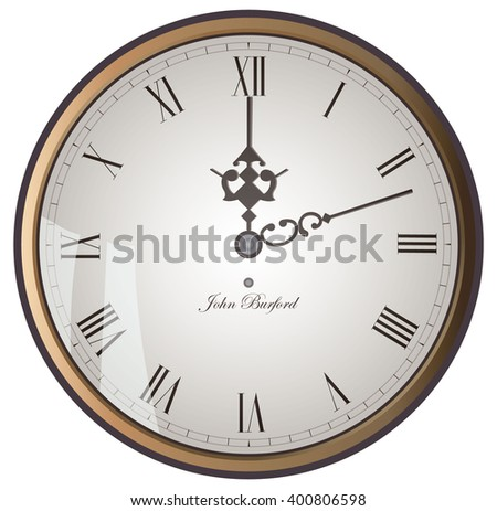 The face of old golden clock. Vector illustration.